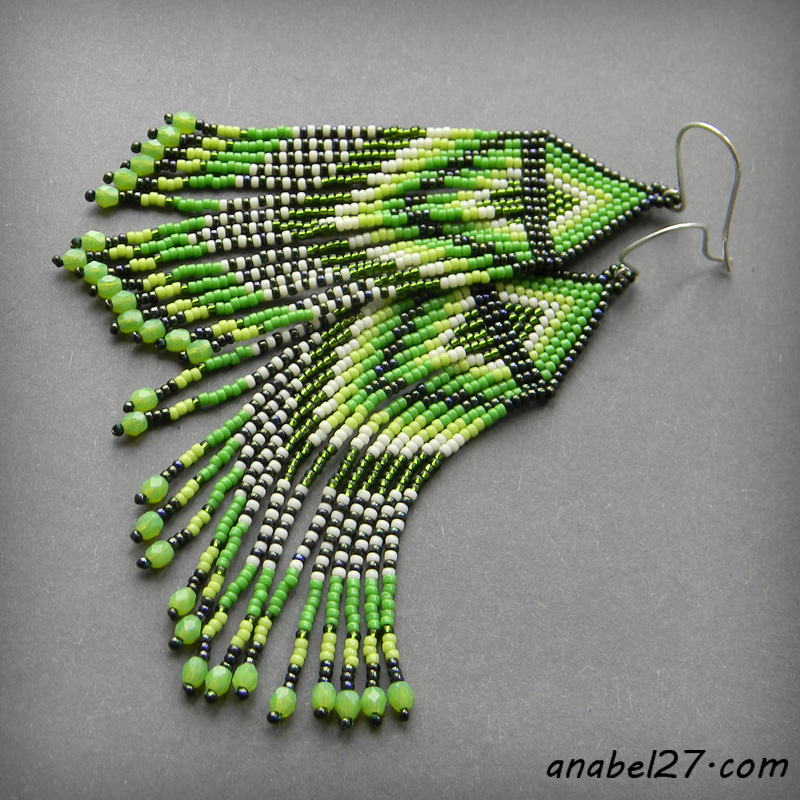 Seed bead earrings - green / spring