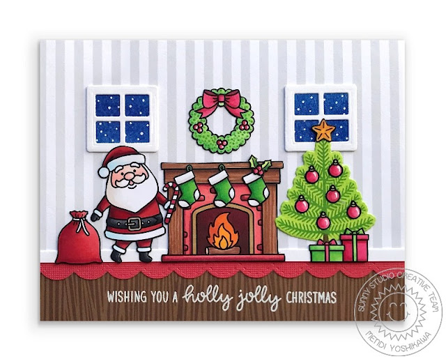 Sunny Studio: Santa Christmas Eve with Fireplace & Tree Holiday Scene Christmas Card (using Santa Claus Lane & Christmas Icons Stamps, Sweet Treats House Add-on & Stitched Scalloped Dies, Amazing Argyle & Subtle Grey Tones 6x6 Paper)