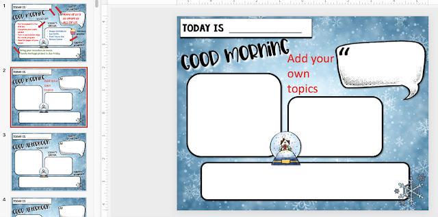 Example of a PowerPoint slide for morning messages templates