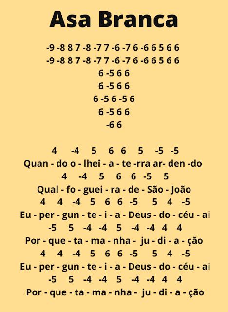 Cifra musica Asa Branca Para Gaita
