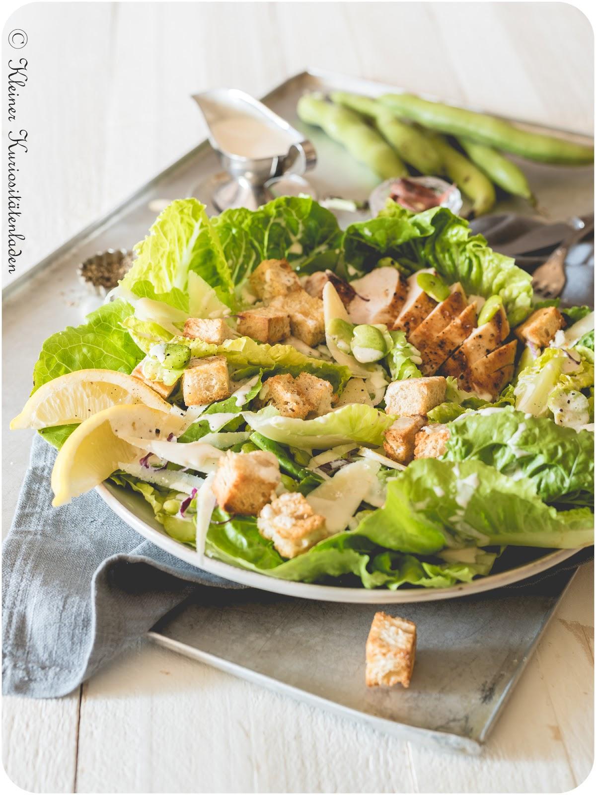 Caesar Salad mit dicken Bohnen