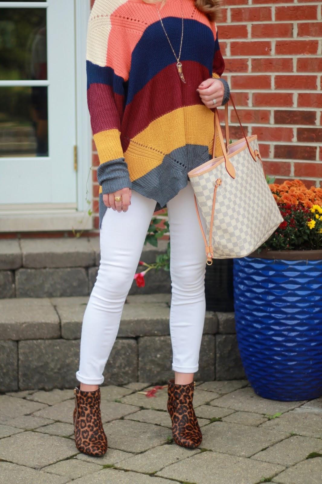 bold stripe tunic sweater, white denim, leopard booties, LV azure neverfull,
