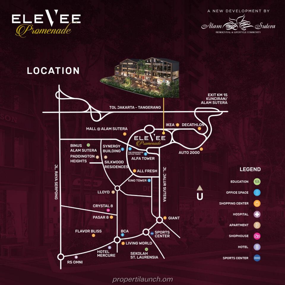 Lokasi Elevee Promenade Alam Sutera