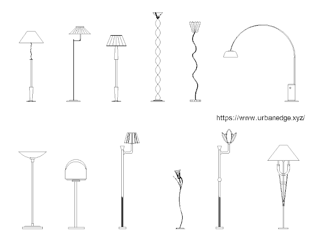 Floor Lamps  free cad blocks download - 10+ Dwg Lights Models