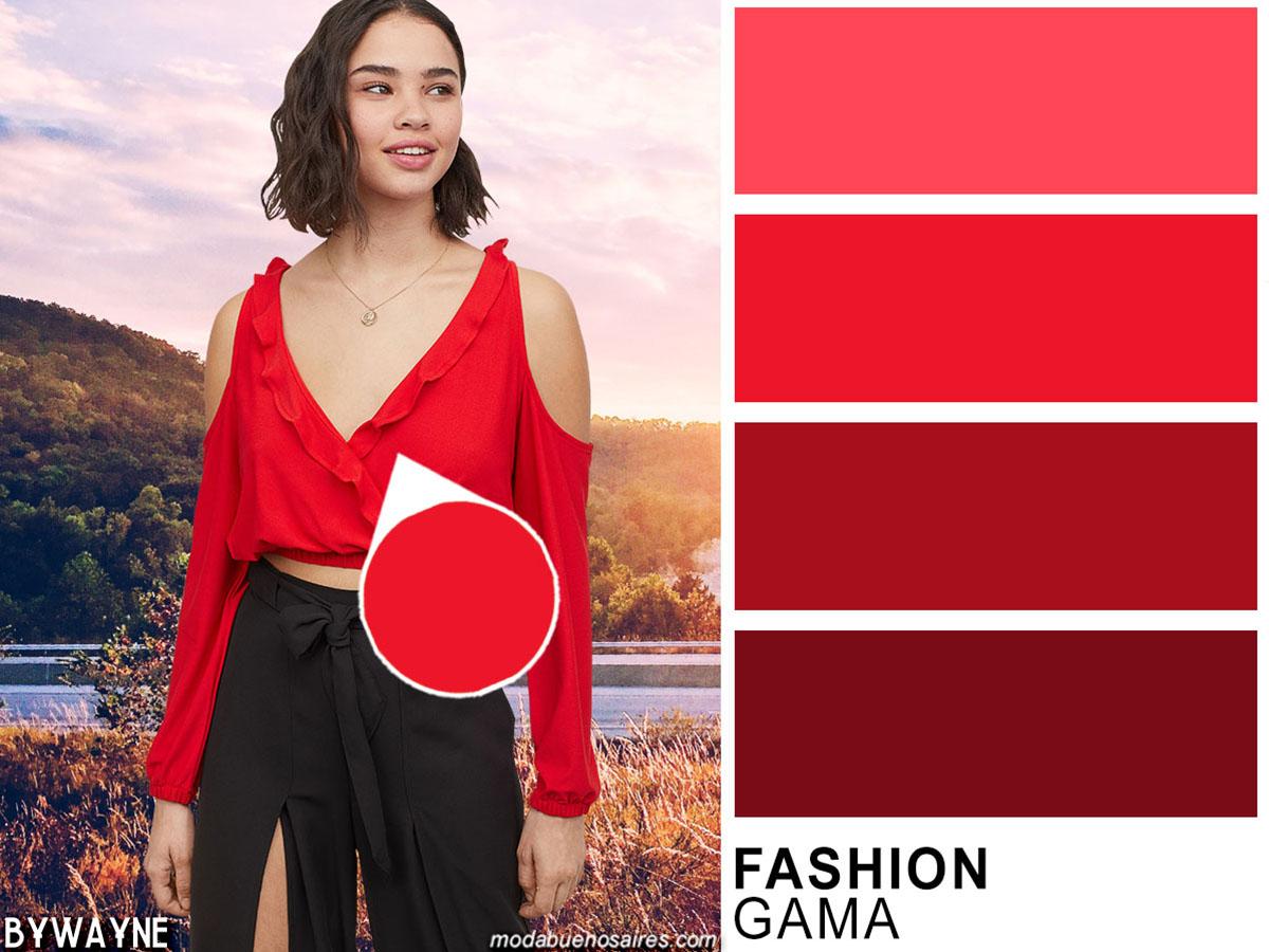 Rojo y negro: colores de moda primavera verano 2020.