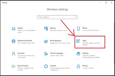 Apps option of windows settings