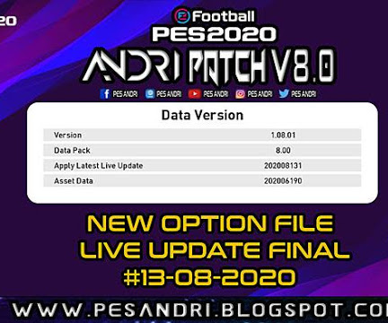 PES 2020 Option File For Andri Patch V8.0 Update Final 13/08/2020