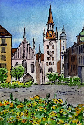 Bestselling  painting of German Munich Marienplatz Church