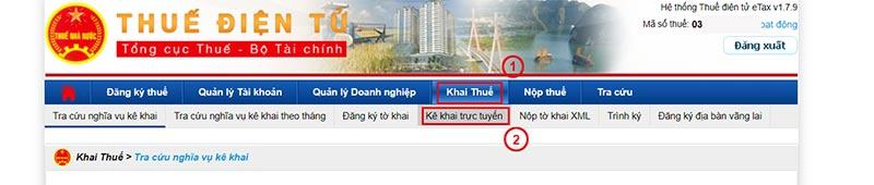 Hình 6 - Chọn kê khai trực tuyến trong menu Khai thuế