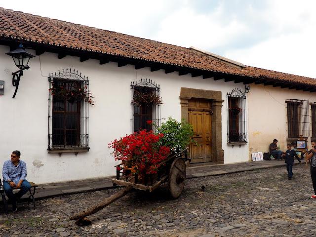 Simple house and wagon in Antigua, Guatemala