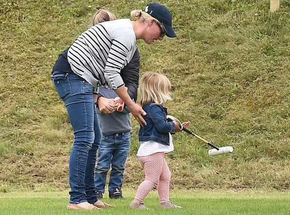 Mint Velvet Navy & Grey Stripe Zip Back Knit. Mia Tindall attends the Maserati Royal Charity Polo Trophy, Zara wore summer dress