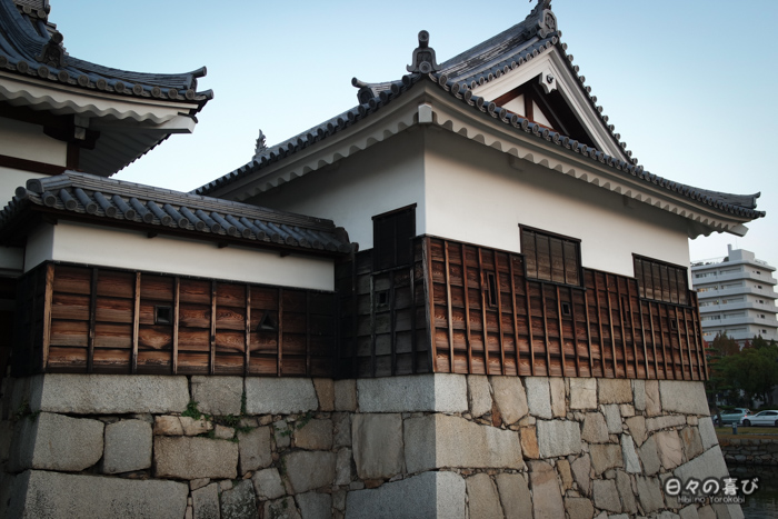 Détail architecture de l'enceinte extérieure, château d'Hiroshima, Hiroshima-shi
