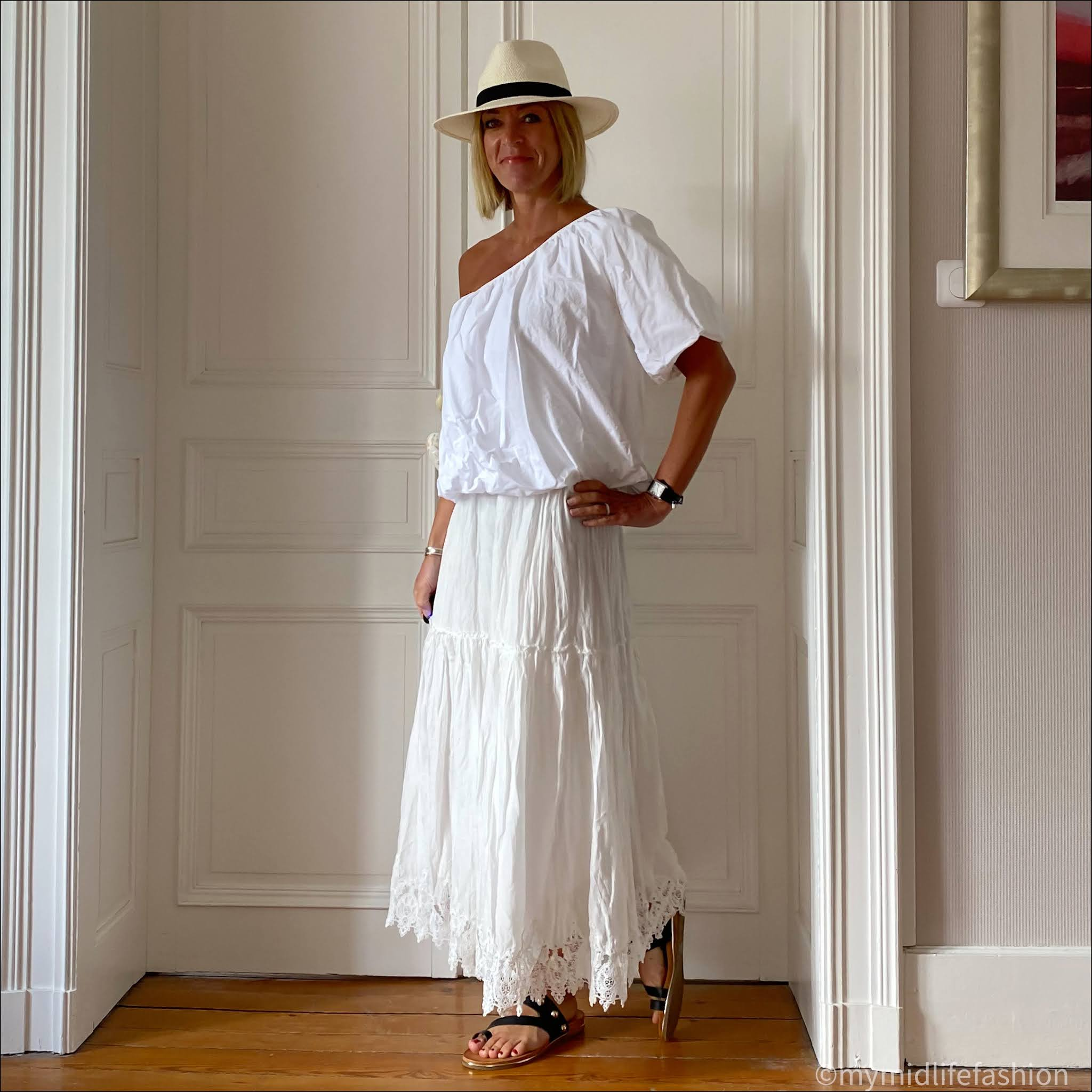 my midlife fashion, carvela karafe sandals, Zara long crochet skirt, Zara Panama hat, Zara one shoulder top