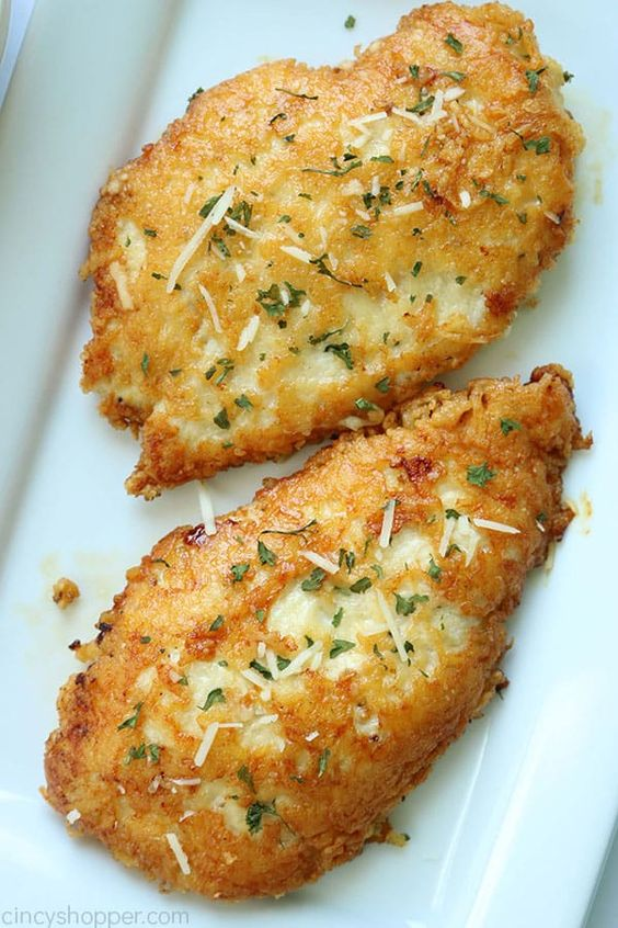 This Parmesan Crusted Chicken is an easy meal idea. We use pounded thin chicken breasts, coat in a delicious Parmesan coating, and then fried to make them crispy. Add this chicken idea to your dinner…
