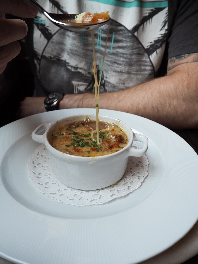 Gooey cheesy French onion soup