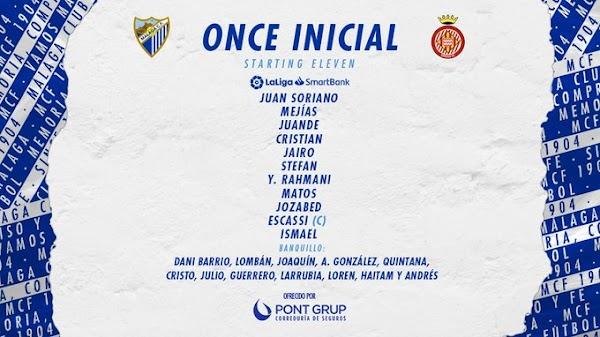 Málaga - Girona, alineaciones oficiales