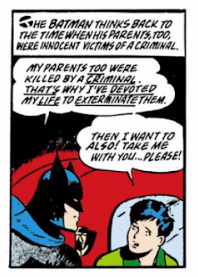 Detective Comics (1937) #38 Page 3 Panel 3: Batman invites Dick Grayson to fight crime with him as they have both lost parents to criminals.
