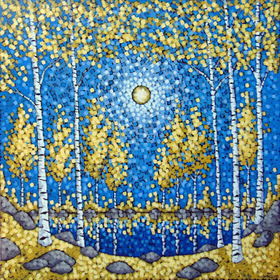 Shazam acrylic landscape painting by artist aaron kloss, pointillism, gold birch, autumn birch, mn landscape