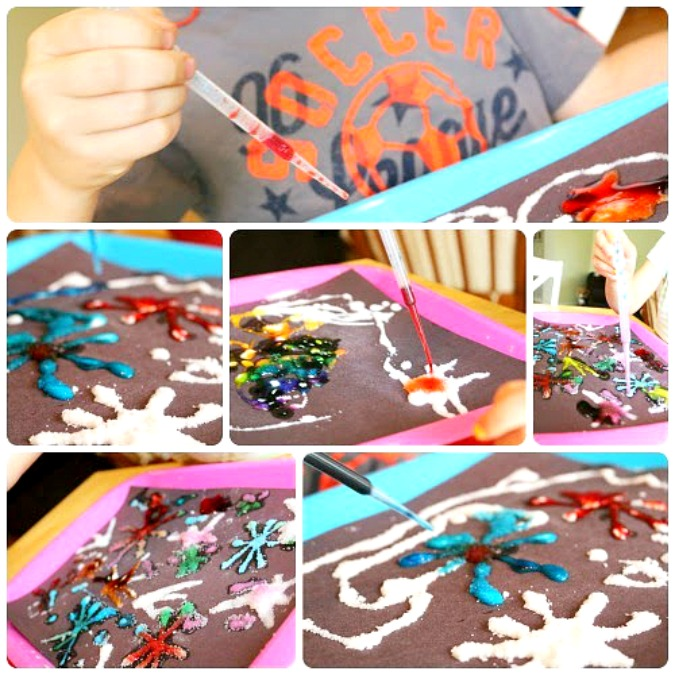 Adding food coloring - salt and glue fireworks kid craft