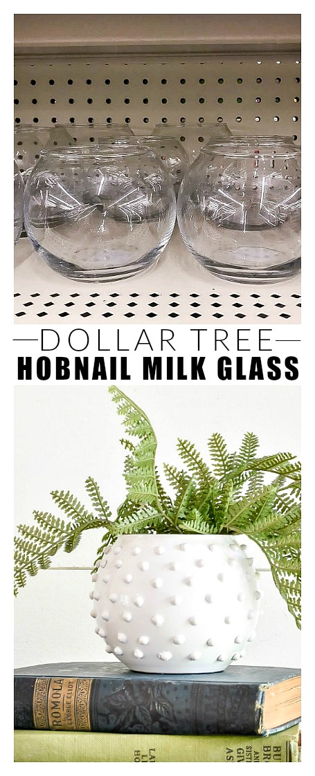 DIY Dollar Tree faux Hobnail Milk Glass vase