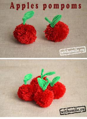 Apple Pom Poms.