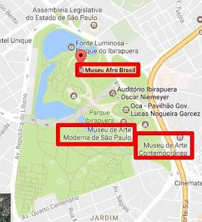 Mapa MAM, MAC e Museu Afro Parque Ibirapuera
