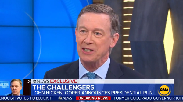 screenshot of John Hickenlooper, a thin white older man, appearing on Good Morning America