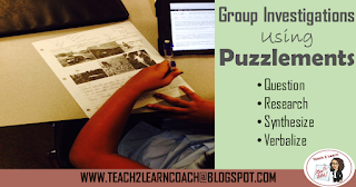 Use puzzlements as a form of group investigation in the classroom to get students to question, research, synthesize and verbalize information.