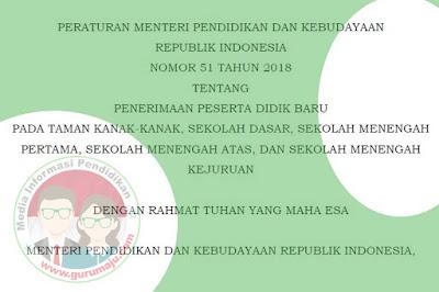 Permendikbud Nomor 51 Tahun 2018 Tentang Juknis PPDB 2019