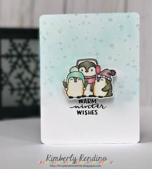 penguin card by Kimberly Rendino | Winnie & Walter | Nuvo Glimmer Paste | handmade card | cardmaking | stenciling | penguins | papercraft | papercrafting