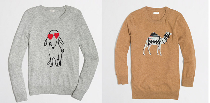 jcrew factory animal sweater