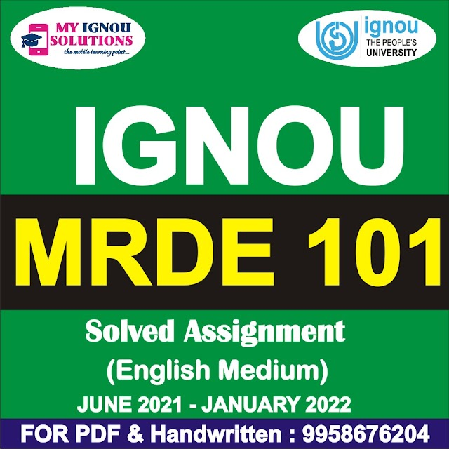 MRDE 101 Solved Assignment 2021-22