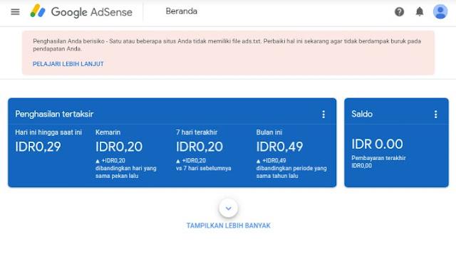 Cara Menghilangkan Notifikasi Pesan Error Ads.txt Dashboard Google Adsense