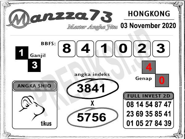 Prediksi Togel Manzza73 HK Selasa 03 November 2020