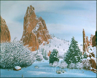 snow,landscape,Colorado,Garden of the Gods,Thanksgiving Day,clouds,red rockevergreens,junipers,pinyon pines