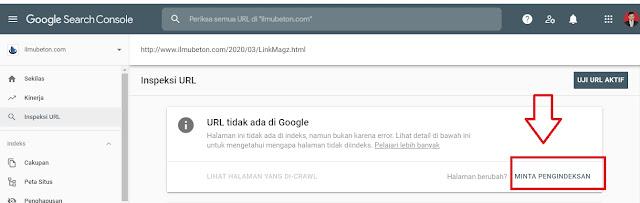 Meminta Pengindeksan kembali di Search console webmaster Google