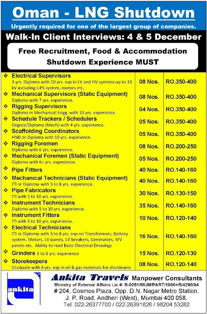 Shutdown Jobs, Oman Jobs, Ankita Travels, LNG Shutdown Jobs, Oil & Gas Jobs, Electrical Supervisor, Mechanical Supervisor, Rigging Supervisor, Scaffolding Supervisor