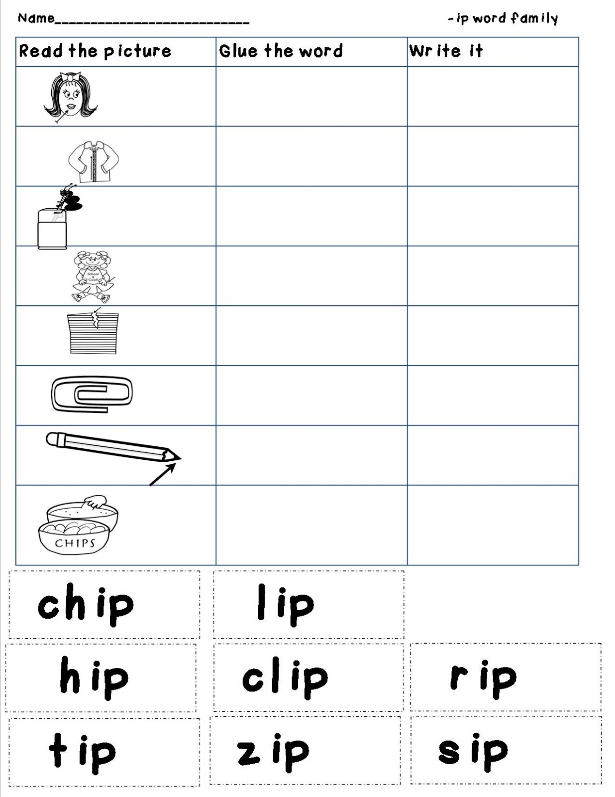 Mrs. Bohaty's Kindergarten Kingdom: -ip word family