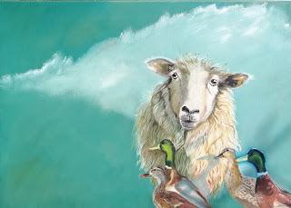 Kunst, maleri, Oli, lærred, contemporary, ayoellploger, galleri, Gallery, art, landskab, landscape, ænder, birds, sheep, får, vadehav, Brande, artist