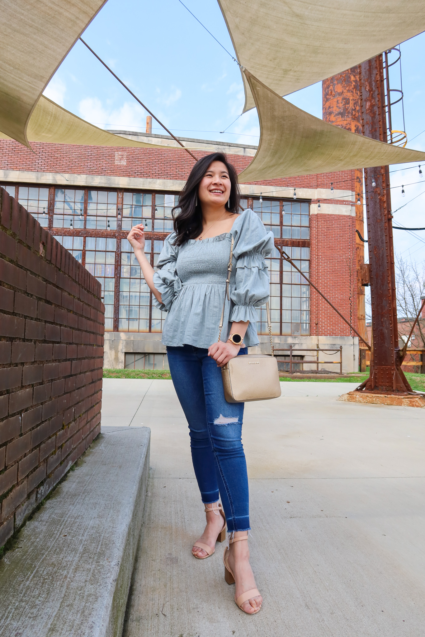 Sage Green Top styled with light wash skinny jeans and nude heels