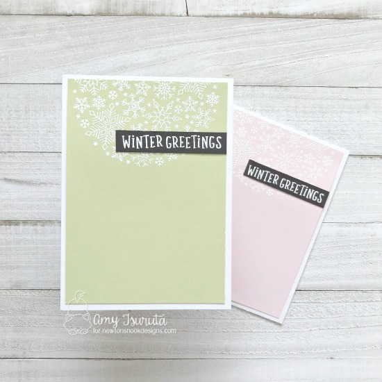 Snowfall Card Set by Amy Tsurtua | Snowfall Roundabout Stamp Set by Newton's Nook Designs #newtonsnook