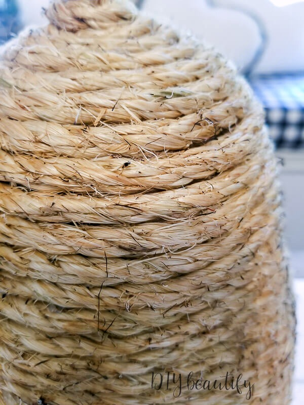 close up of DIY bee skep