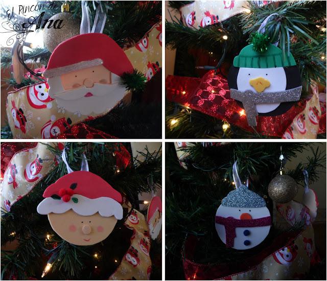 Adornos para el árbol de navidad con goma eva
