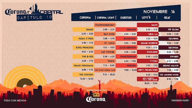 Horarios Corona Capital 2019