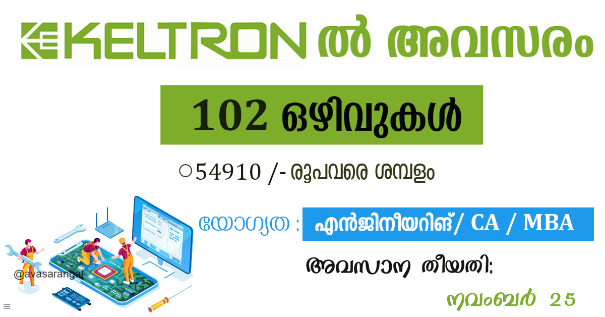 KELTRON Recruitment 2020 – Opening for 102  Posts