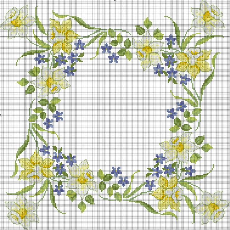 Encantos em ponto cruz flores em ponto cruz - Disegni punto croce per tovaglie da tavola ...