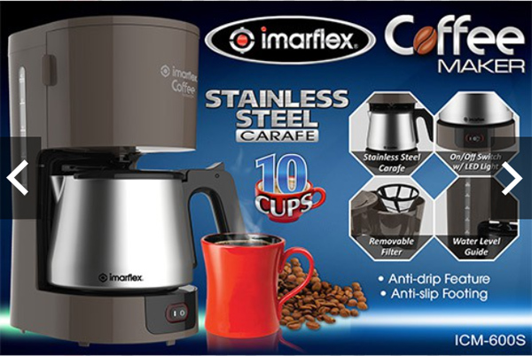 Imarflex Coffee Maker with Stainless Steel Carafe, Imarflex Coffee Maker with Stainless Steel Carafe review, hot coffee, brewed coffee, coffee beans, black coffee, glass carafe, 3-in-1, helper, household help, dishwashing, morning coffee, caffeinated couple, migraine, caffeine fix, caffeine withdrawal, wake up drink, coffee cupping, online shop, instant coffee, Covid-19, French press, automatic drip coffee maker