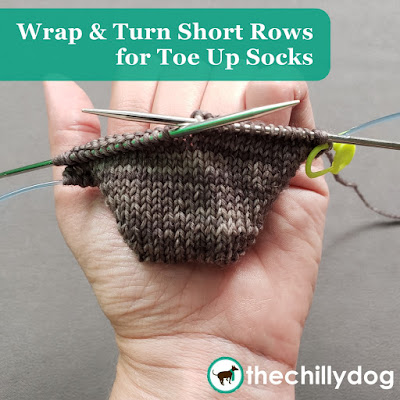 Knitting Video Tutorial: wrap and turn short rows for toe-up sock toes