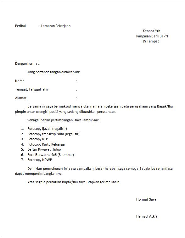 Surat Lamaran Kerja Yang Simple