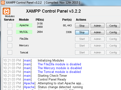 Enable Apache and MySQL in XAMPP